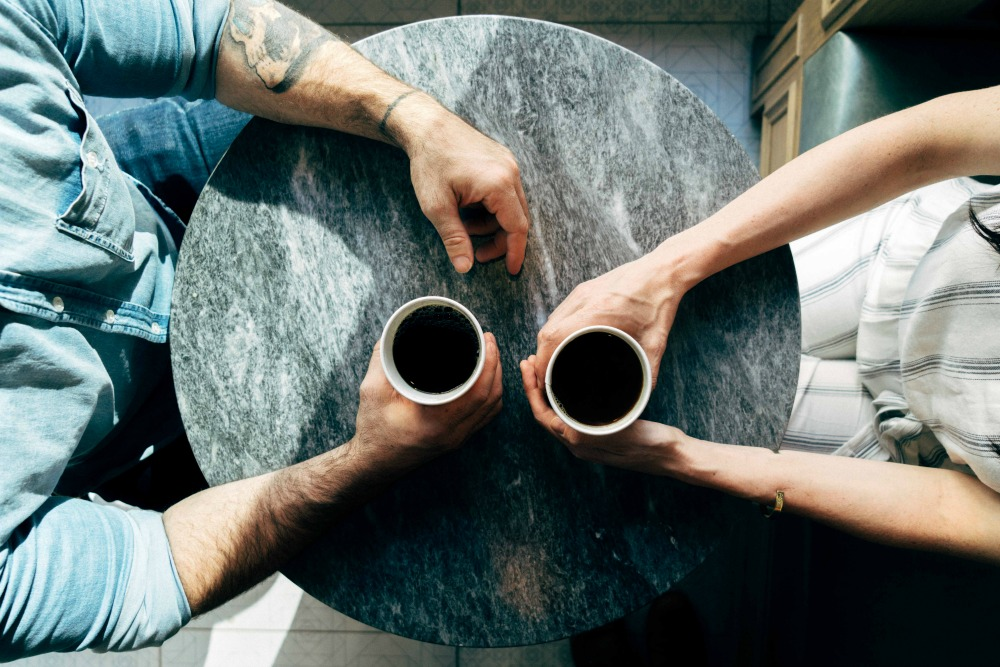 Writers connecting over coffee